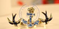 rings finger Fashion popular Jewelry for women Girl's double rings bird blue strips design CN post