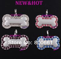 Retail (mix colors)!Free Shipping!New Arrival!Rhinestones&High Polish Bone Dog ID tag(10% off for 2pcs)