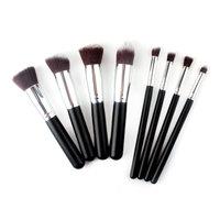2014 Hot Sale 8pcs/lot Silver Makeup Brushes Soft Synthetic Cosmetic Blending Foundation Concealer Brush 01 # 46613  V00607
