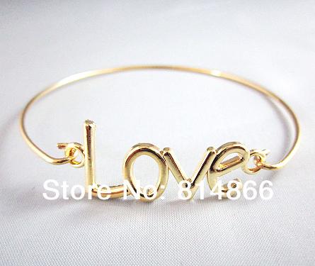 Gold Love Bangle Bracelet Love Charm Bracelet Valentine s Day Jewelry Bridesmaid Gift