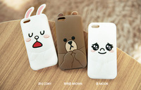 HELLO! 2014 FREE SHIPPING Cartoon cute hello BROWN BEAR rabbit case for iphone 5 5s 5g line Icon cony brown moon case for iphone