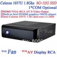 multimedia computer mini pc station with rca video AV S-VIDEO output Intel Celeron C1037U 1.8Ghz NM70 chipset 8G RAM 32G SSD
