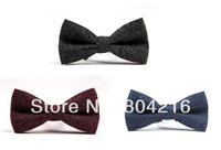 Men Vintage Wedding Suede Pre-Tied Bow Formal Tie Bowtie