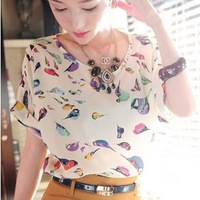 NEW CHIC 2014 Hot Selling Free Shipping Sexy Women Colorful Birds Chiffon T Shirt Batwing Loose Blouse Casual Tee Tops