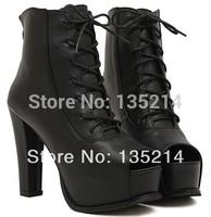 2014 Hot sale Open toe shoe women's fashion thick platform high heel lacing black cool high-heeled shoes