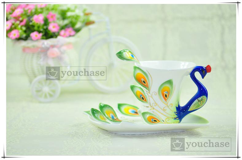 Porcelain enamel Mugs peacock coffee cup tea set cup fashion ceramic fashion colored drawing set creative tea cup(China (Mainland))
