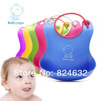 Free shipping high quality Babyyuga Baby waterproof bib  Eat pocket  Children Bibs soft  TPE material 2pcs/lot