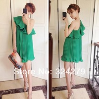 Free Shipping New 2014 Top Selling Fashion Women Spring Summer One-Shoulder Sexy Evening Party Novelty Three Floor Dress 12017
