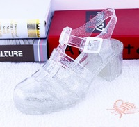 2014 new design RetroStyle women thick high heel sandals melissa jelly shoes T-Strap with buckle cut-outs women summer shoes 6cm