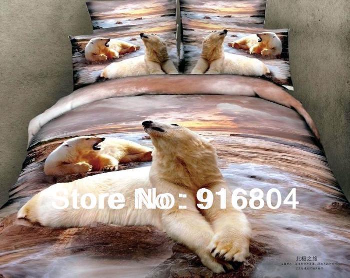 Frete grátis !! Chegada nova 3d Urso Polar On The Rocks Projeto Queen Size 100 % de material de cama de algodão edredon cobrir definido(China (Mainland))