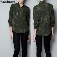 New 2014 thickening autumn and winter gold rivet decoration big double pocket female long-sleeve shirt Camouflage rivet shirt