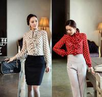2014 New Women's Ruffle Stand Collar Polka Dot Shirt Long Sleeve Flouncing Tops Blouse Free Shipping