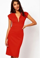 2014 New Women Charming EuropeanWestern Style Pure Color Deep V Collar Summer Formal Pencil Midi Slim Party Dress Red