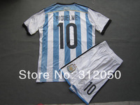 Argentina 2014 world cup jerseys home blue white #10 Roman riquelme soccer uniforms football kits include jersey and shorts