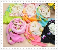 Hot-selling chiffon silk scarf sun beach towel cape dream butterfly design print long multicolor scarf