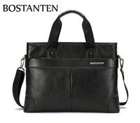 BOSTANTEN Men's Genuine Leather Briefcase Handbag Messenger Shoulder Laptop 14'' Bag Black Luxury