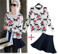 2014 spring one-piece dress female winter dress women's fashion plus size casual twinset basic skirt top