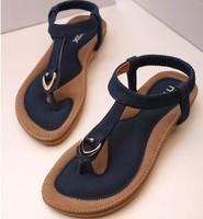 new 2014 women sandals flat heel summer casual single shoes soft bottom female slippers sandals flats plus size 35-41 drop ship