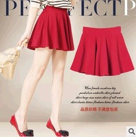 Free Shipping 2014 New Fashion Casual Womens Solid OL Pleated A-Line High Waist Chiffon Zip Short Mini Dress Bust Skirt