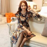 2014 Spring Autumn New Arrival Fashion Dresses Korean Style Ladies Casual Long Sleeve Floral Print Elastic Mini Dress For Women