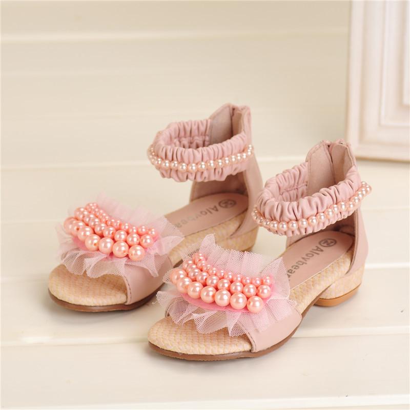 Livraison gratuite, nouveau 2014 coréens, femelle, perle fermeture éclair ouverte- doigts chaussures enfants filles douces chaussures sandales à talons hauts