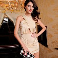 2014 new fashion sexy dress hot solid shesth style ladies sexy sleeveless mini club dress free shipping HF2812