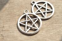 30pcs Antique Silver tone Supernatural Pentagram charm Pendants 29x25mm