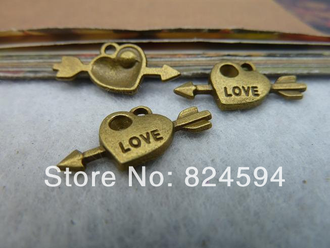 Free Shipping 60pcs 10 20mm Diy ancient bronze cupid arrow Fashion Jewelry Charms Supplies