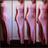2014 New Fashion Design Spring Naked Dress ,Pink Empire Floor Length Shiny  Bodycon Sexy Dress,Vestidos de Fiesta Casual Dress