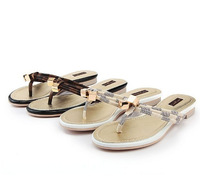 2014 Summer New Brand Design Genuine Leather Women's Sandals,Fashion Beach Flip Flops Flat Heel Slippers With Buckle 35-41
