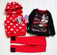 Free Shipping 2013 Brand New free shipping baby girl MINNIE mouse clothing sets winter suits  vest + top+leggings 3 pcs sets