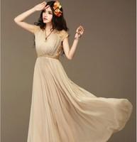 Hot Sale designer wedding dress Chiffon Lace Maxi Vintage Dress New Spring 2014 Women Summer Dress free shipping dress
