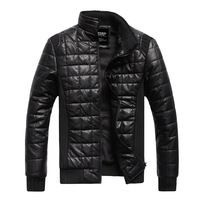 Male slim leather clothing thermal PU clothing outerwear plus velvet thickening men's clothing leather jacket spring