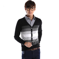 Free shipping 2014 male preppy style shirt collar faux two piece spring and autumn teenage school wear  2014 new
