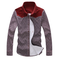 2014 spring shirt male long-sleeve slim the trend of the spring and autumn polka dot men's clothing color block shirt
