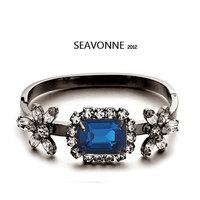 Free Shipping 2014 Vintage Metal Fashion Hot Wholesale blue crystal flower Bracelet Bangle and Bracelet dropshipping  B