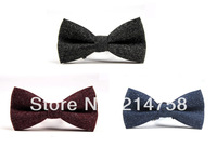Men Vintage Wedding Suede Pre-Tied Bow Formal Tie Bowtie