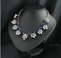 Ice flower multicolor glass crystal Encrusted Collar necklace copper base Prong Non dust Jewelry