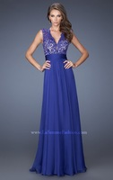 New Arrival Purple Lace V-neck Chiffon Floor-Length Evening Dress Formal Gown All Sizes or Made to Measure