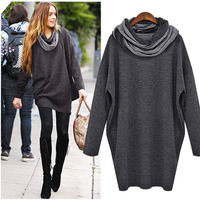 2013 fashion spring and autumn scarf muffler long design sweatshirt one-piece dress t-shirt dress loose plus size batwing shirt