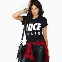 2014 New Brand Women Tee Shirts,Letter Print o-Neck Female Black t-Shirts,Cotton Plus Size t-Shirts