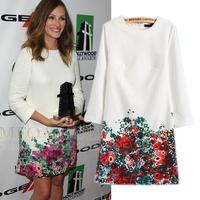 2015 spring new arrival fashion star Botton Floral print o-neck long-sleeve slim one-piece dress vintage dresses