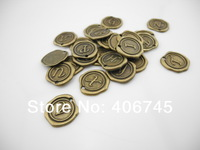 8pcs Antique Bronze Tone Base Metal Charms Pendants Connectors Findings - Alloy Wax seal Alphabet Letter