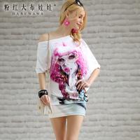 2014 spring flower irregular oblique long-sleeve print women's new product t-shirt
