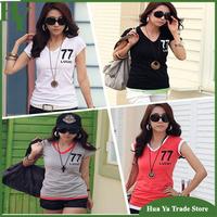 H4 Wholesale Women Summer Clothing New 2014 V Neck Short Sleeve Cotton T-Shirt