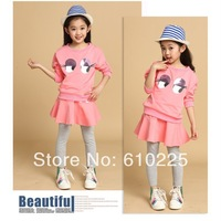 New 2014 Children Clothing Sets Girls' Cute Suits Long Sleeve Fashion Shirts And Leggings Cute Cartoon Big Eyes Suits