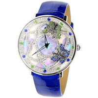 new 2014 Davena brand fashion elegant 2 butterfly Luxury rhinestone quartz watchs women leather strap dress watchs gift watchs