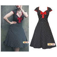50s Retro Bow Dot Audrey Hepburn Pinup Rockabilly Party Birthday Prom Swing Dress Free Shipping