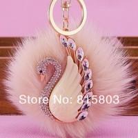Free Shipping! Big FOX Hair Ball Full Rhinestones Swan Metal Keychain Wholesale Bag Charms Keychain