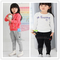 2014 spring new arrival children's clothing male female child baby embroidered dog pattern casual trousers